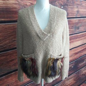 Zara Knit Tan Boucle Knit Wool Blend Sweater Large